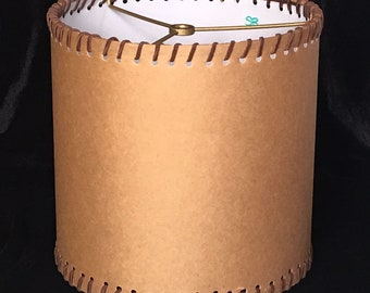 Rustic Country Ranch style Parchment drum shade with suede lace trim top and bottom, hardback drum shade