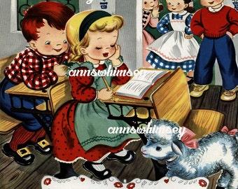 Nursery Art, Nursery Art Print,  Child's Room Art,  Gift For Teacher, Nursery Rhyme Art  #388  (Set Four)