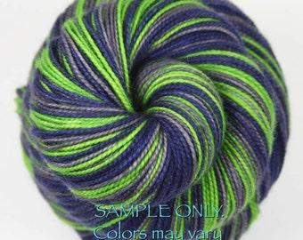 "Dyed to Order: Self striping sock yarn - ""BLUE - GREEN - GRAY"" - Football yarn - Baseball Basketball- School colors yarn - Seattle"