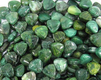 "13mm green african jade triangle beads 15.5"" strand 32289"