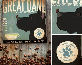 Great Dane dog Coffee Company advertising style artwork on gallery wrapped canvas design by stephen fowler