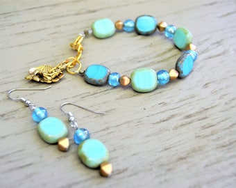 CZECH GLASS Beaded Bracelet Aqua and Blue Beach Colors Gold Accents Mermaid Charm Matching Earrings