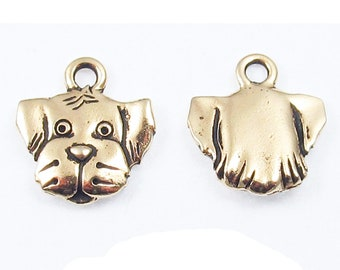 TierraCast Lead-Free Pewter Puppy Dog Charms-Gold SPOT (2 Pcs)