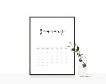 2018 Calendar Printable Wall Calendar A4 Monthly Organizer