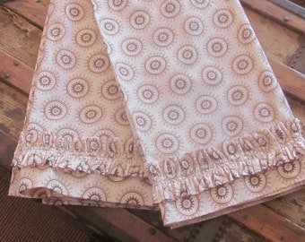 Pair of Handmade Cafe Curtains in Pink Medallion Print