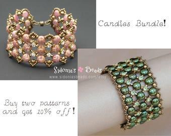 Beading Tutorials Bundle - Candy Beads Bracelets Tutorials - Beading Patterns - Jewelry Making Tutorials