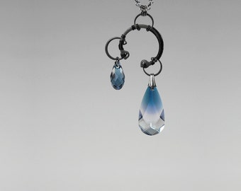 Blue Swarovski Crystal Pendant, Swarovski Necklace, Bridal Jewelry, Denim Blue. Ocean Blue Crystals,  Industrial Jewelry, Thelxinoe v10
