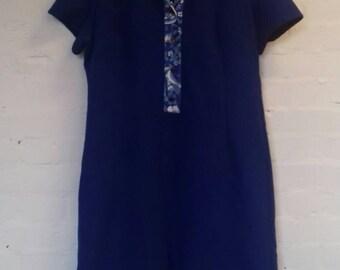 Blue vintage ribbed dress with floral detail - size 16/18