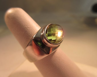 Sterling Silver Yellow Gemstone Ring - size 6.5