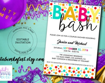 Baby Bash Invitation Instant Download, Editable Baby Shower Invitation, Red Yellow Teal Gold Polka Dots DWOAINVBABYBASH200 editable PDF