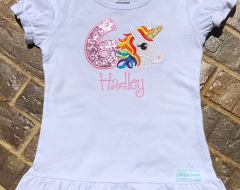 Girls appliquéd Unicorn shirt with birthday number and embroidered name (Can be made on a short sleeved , long sleeved or raglan shirt)