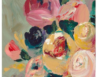 "Roses in Bloom, 8.5""x 11"" Signed Large Print of Original Acrylic Painting in a 11"" x 14"" mat"
