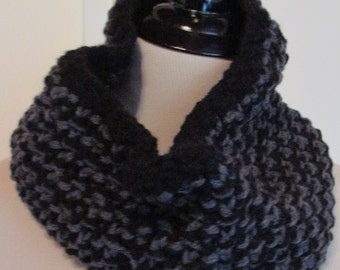 Black and Charcoal Grey Tweed Stitch Cowl