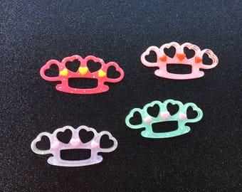 4pc. Kawaii Glitter Heart Brass Knuckles