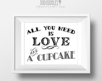 75% OFF THRU 4/21 ONLY All You Need Is Love And A Cupcake, 8x10 Cupcake Sign, wedding engagement party, dessert table sign, love and cupcake