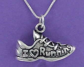Running Shoe Necklace - 925 Sterling Silver - on Gift Card with Running Message