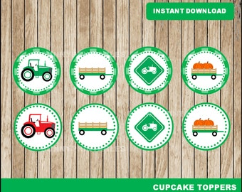 Tractor cupcakes toppers; printable Green Tractor toppers, Farm party toppers instant download