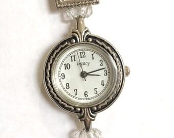 SALE- Art Deco Inspired Swarovski and Pearl Beaded Watch
