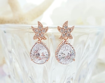 Starfish Earrings - Beach Wedding Jewelry - Rose Gold CZ Earrings Bridesmaid - Star Fish Earring Studs - Blush Gold Tear Drop Earrings E2814
