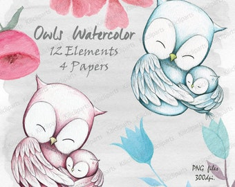 WATERCOLOR OWLS, woodland, baby shower invitation, baby shower clipart, watercolor Papers, children decor, commercial use.