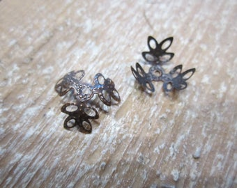 set of 10 bead caps, copper bead caps