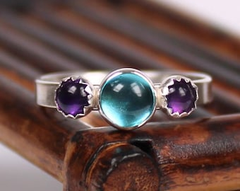 Apatite and Amethyst Ring, Gemstone Ring, Silver Ring, Handmade Ring, Triple Gemstone Ring