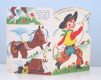 Vintage Unused Unsigned Happy Birthday Card Cowboy Horse Cutout