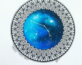 Watercolour Mandala Astrology Signs