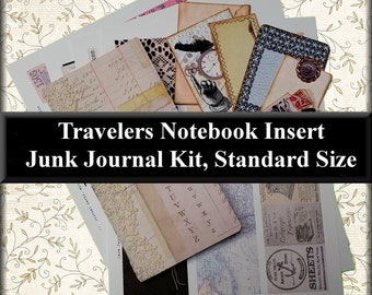 Travelers Notebook Insert: Junk Journal Kit, Standard Size, w/ 4 Sheets of Cut Outs for Decorating, 8 Pieces of Ready Made Embellishments #2