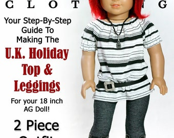 Pixie Faire Liberty Jane UK Holiday Top and Leggings Doll Clothes Pattern for 18 inch American Girl Dolls - PDF