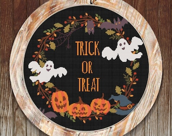 Halloween Trick or Treat Modern Cross Stitch Pattern // Instant PDF Download