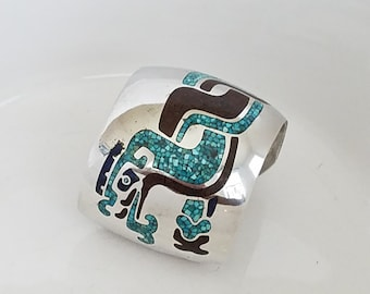 Sterling Silver dragon cuff bracelet Mexico bracelet Dragon turquoise chip inlay Larome 925 Jalmex size 6.75 Mexico Sterling -OD2023