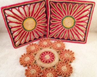 3 Vintage Straw Hotpads Rafia Trivets Red Orange Yellow Green Kitschy Wall Decor Boho Wall Decor Bohemian Art