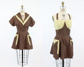 50s Playsuit Romper Set Small / 1950s Cotton Dress and Jacket / American Sportator Set