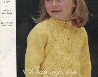 Child's cardigan knitting pattern. Instant PDF download!