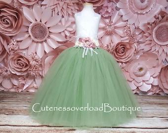 Sage Green Flower Girl Tutu Dress-Sage Green Tutu Dress-Green Tutu Dress.Green Flower Girl Tutu Dress-Vintage Mint Green Tutu-Sequin Dress