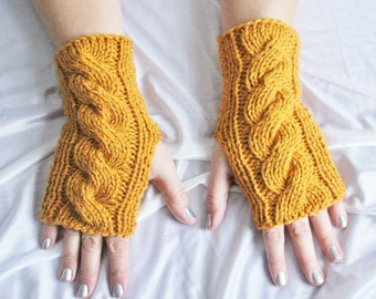 Fingerless Gloves - Mustard Gloves - Wrist Warmers - Yellow Gloves - Ready to ship