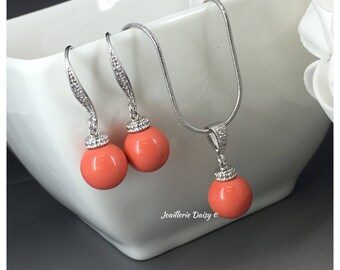 Bridesmaid Gift Coral Necklace Coral Jewelry Pearl Jewelry Swarovski Necklace Bridal Jewelry Set Maid of Honor Gift for Moms