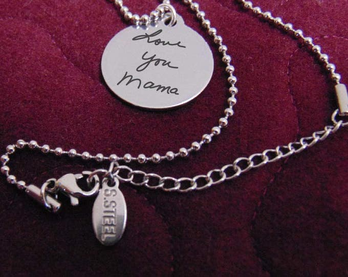 """Your Handwriting On A Brushed Stainless Steel Round Pendant Necklace (7/8"""") Your Writing Personalized, Stylish, Custom, Gift, Sister"""