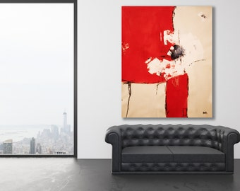 XL Red Abstract Painting / Contemporary Art / Modern Art / Large Painting / Oversized Painting / Red Art