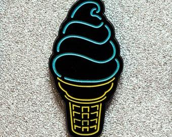 Neon Ice Cream Cone Glow-in-the-Dark Enamel Pin