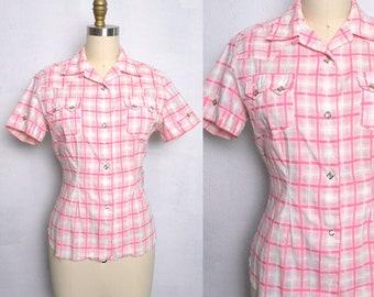 Vintage 1950s Levis Western Shirt 50s Women's Cotton Blouse