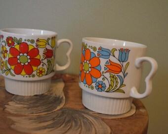 Vintage Stacking Mugs, Japan set of 2, flowers