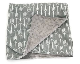 Gray Baby Blanket. Arrow Baby. Gender Neutral Baby. Tribal Baby Blanket. Minky Baby. Baby Girl. Baby Boy. Baby Shower Gift. BizyBelle