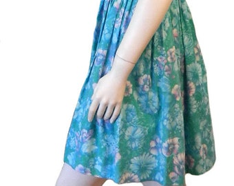 Vintage 1960s Blue Floral Cotton Summer Dress with Full Pleated Skirt