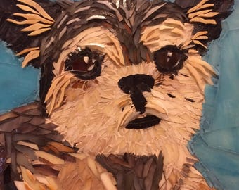 Custom Pet Portrait, Dog Memorial, Brussels Griffon, dog portrait, Yorkie mix, Mosaic pet portrait, Gift for dog lover, stained glass