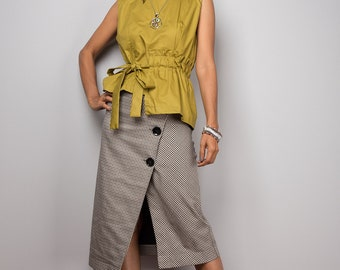 Sleeveless top - Olive trendy summer top - cotton blouse top