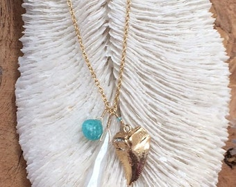 Gold Shark Tooth Necklace / Pearl Chalcedony Necklace / Bohemian Necklace / Gemstone Necklace