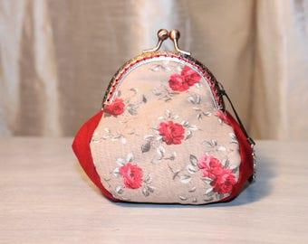 Purse RETRO pretty cotton red roses