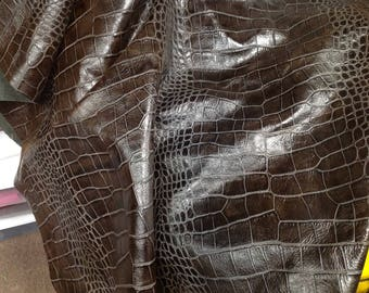 Dark Chocolate Brown Embossed Reptile Leather Cowhide Partial #6-768